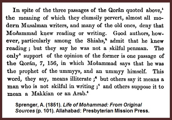Sprenger-Mohammed-Read-Literate-Ummyy-Abbrev