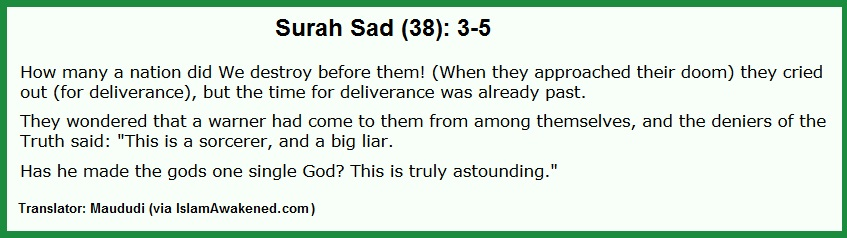 Surah 38.3-5 Maududi