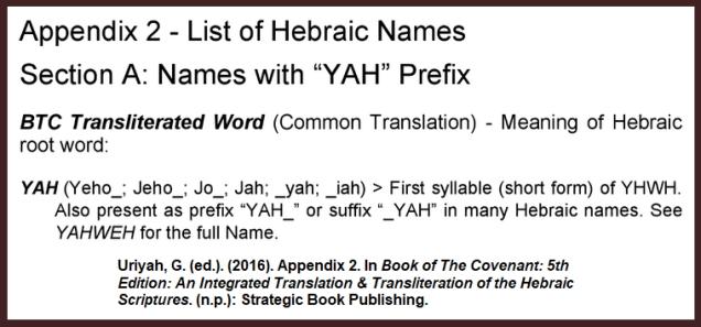 Uriyah-Yah-Iah-YHWH-Yahweh